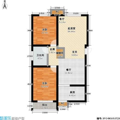 盛世桃城2室0厅1卫1厨108.00㎡户型图