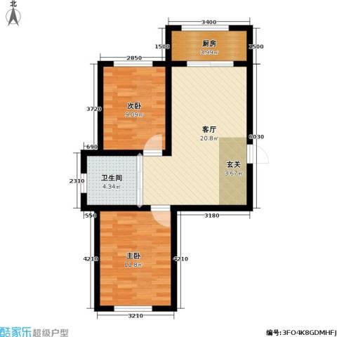 九新雾凇水岸2室1厅1卫1厨72.00㎡户型图