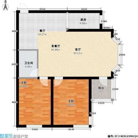 九新雾凇水岸2室1厅1卫1厨117.00㎡户型图