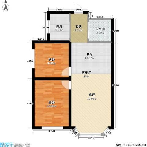 九新雾凇水岸2室1厅1卫1厨90.00㎡户型图
