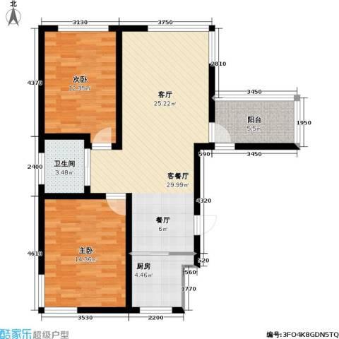 九新雾凇水岸2室1厅1卫1厨100.00㎡户型图