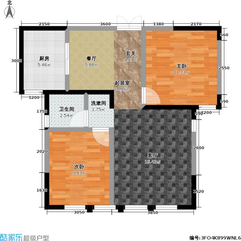 盛达金盘82.09㎡1#、5#楼D单元02两室两厅一卫户型