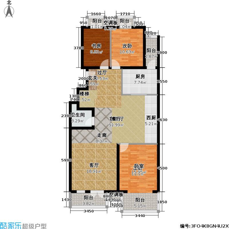 香湾(晶城秀府)230.44㎡上跃层-A1下层(二期)户型