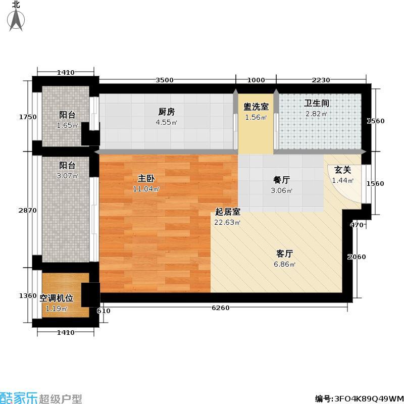 壹线国际51.00㎡F户型一室一卫户型