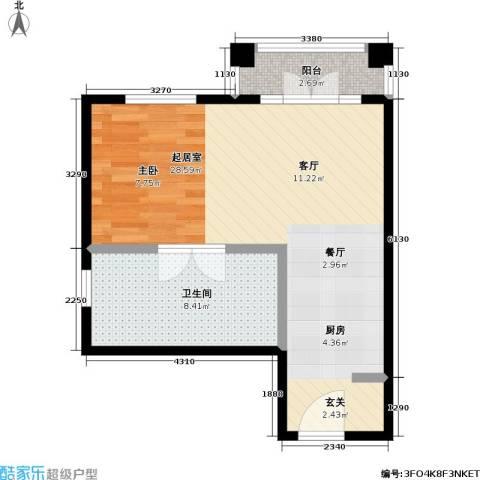汤INN温泉酒店式公寓1卫0厨45.00㎡户型图