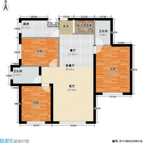 九新雾凇水岸3室1厅2卫1厨131.00㎡户型图
