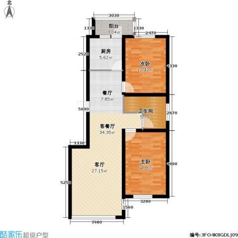 九新雾凇水岸2室1厅1卫1厨107.00㎡户型图