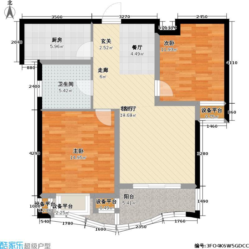 盛世豪园86.92㎡B1户型图户型2室2厅1卫
