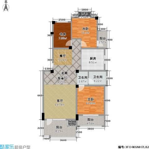 时代花园3室1厅1卫1厨113.00㎡户型图