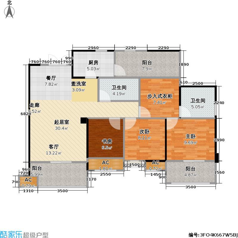 中筑西府兰庭107.00㎡中筑西府兰庭户型图B34室2厅2卫实得120㎡(1/1张)户型4室2厅2卫