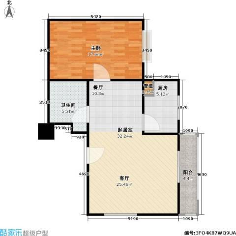 东方郁金香1室0厅1卫1厨70.00㎡户型图