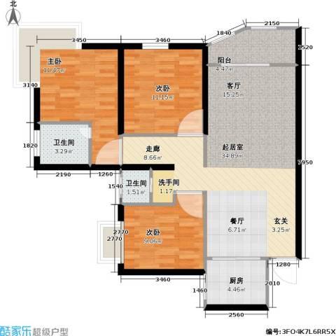 龙湾一品3室0厅2卫1厨117.00㎡户型图