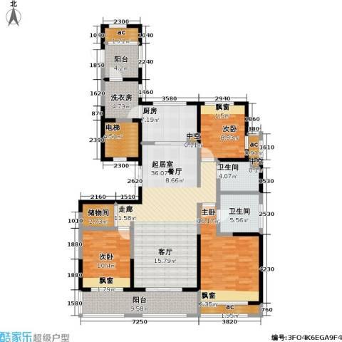 龙湖香醍漫步3室0厅2卫1厨142.00㎡户型图