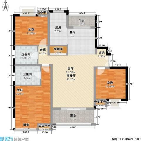 万源城逸郡3室1厅2卫1厨134.00㎡户型图