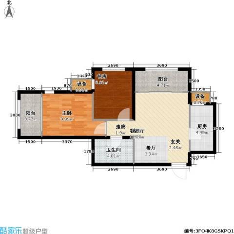 鸿坤・原乡郡2室1厅1卫1厨73.00㎡户型图