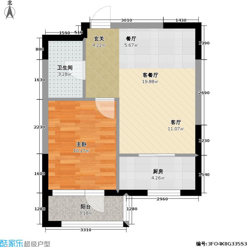 紫光绅苑II期紫光坤苑F2一室两厅一卫58.67平米户型图户型1室2厅1卫