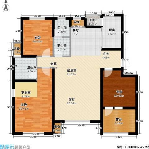 上城雅园3室0厅3卫1厨125.00㎡户型图