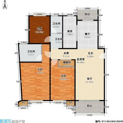 永达城市公寓3室0厅2卫1厨130.00㎡户型图