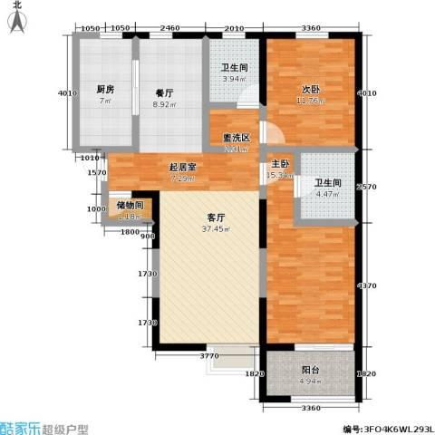 万科金色城品2室1厅2卫1厨125.00㎡户型图