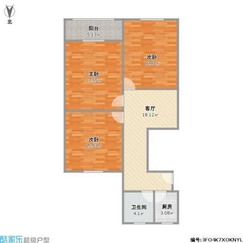 威宁小区3室1厅1卫1厨108.00㎡户型图