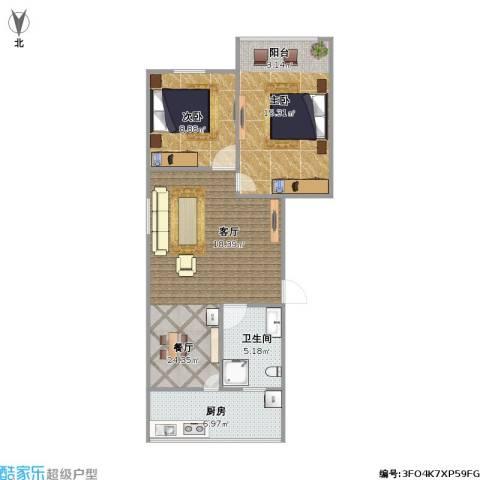 化纤小区2室1厅1卫1厨81.00㎡户型图