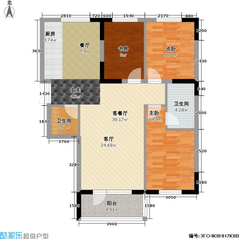 紫光绅苑II期紫光绅苑II期 户型图 E3典精心怡 三室二厅二卫112.40平方米户型3室2厅2卫