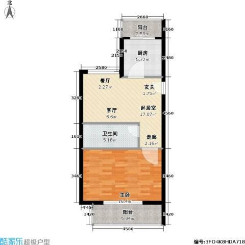 鑫兆丽园(亚北新区)1室0厅1卫1厨59.00㎡户型图