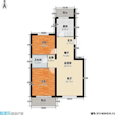 鑫兆丽园(亚北新区)2室0厅1卫1厨104.00㎡户型图