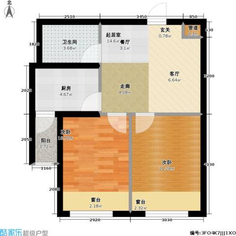 联通格林小镇2室0厅1卫1厨53.72㎡户型图