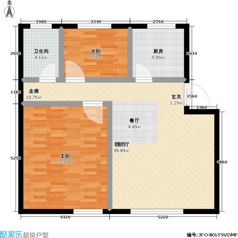 高景花园80.00㎡房型: 二房; 面积段: 80 -90 平方米;户型