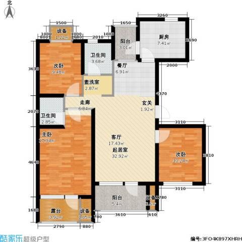 上城雅园3室0厅2卫1厨121.00㎡户型图