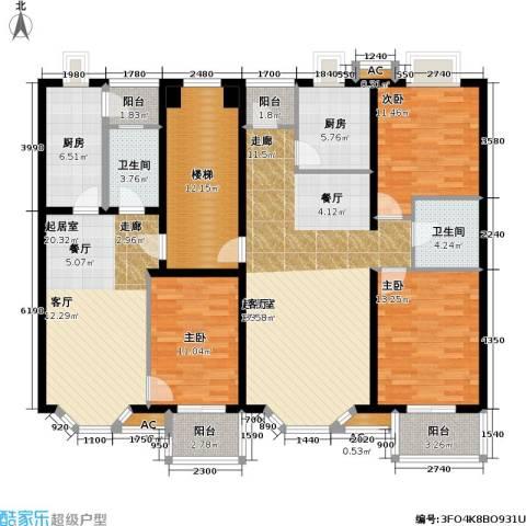 绿城・星洲花园3室0厅2卫2厨132.68㎡户型图