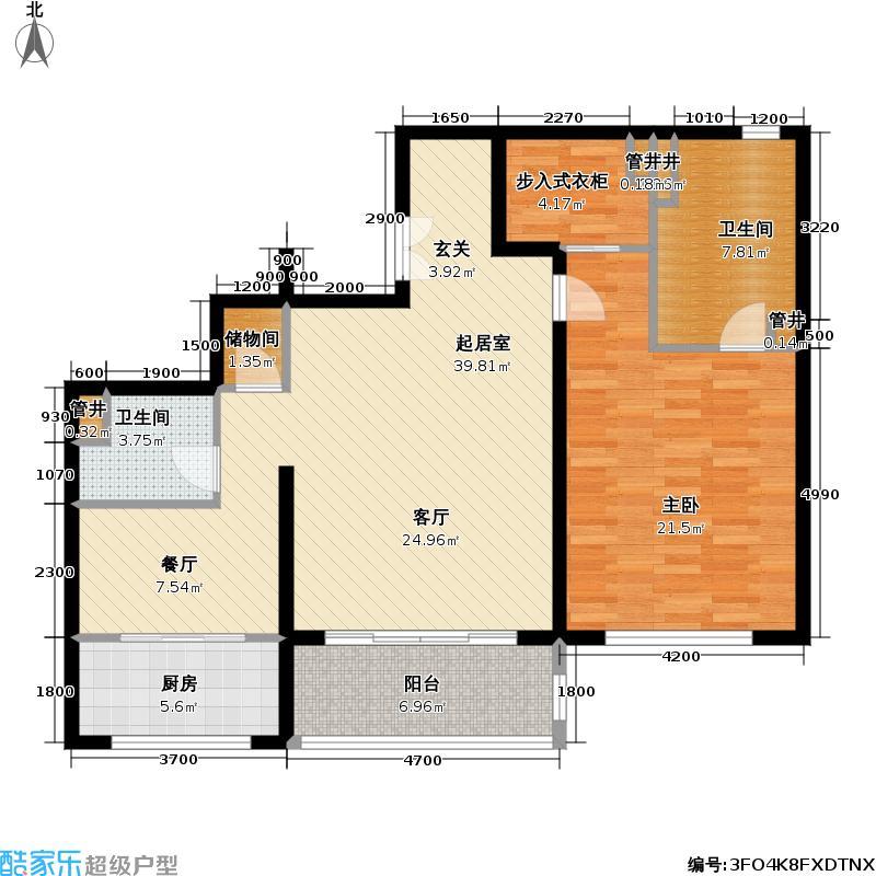 万达大湖公馆B5户型一室二厅二卫户型