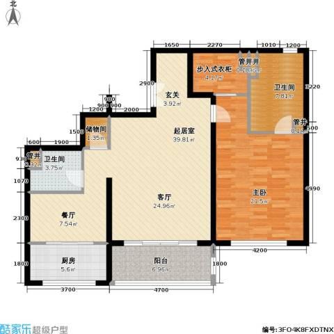 万达大湖公馆1室0厅2卫1厨131.00㎡户型图