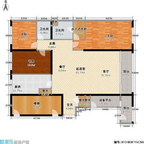 US联邦公寓3室0厅2卫1厨200.00㎡户型图