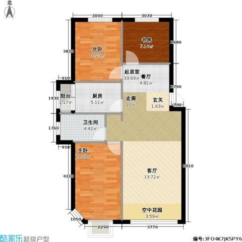 联通格林小镇3室0厅1卫1厨82.88㎡户型图