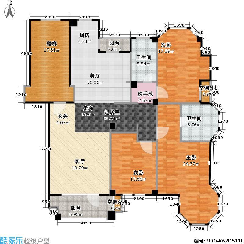 美林西岸106.49㎡三室二厅二卫户型