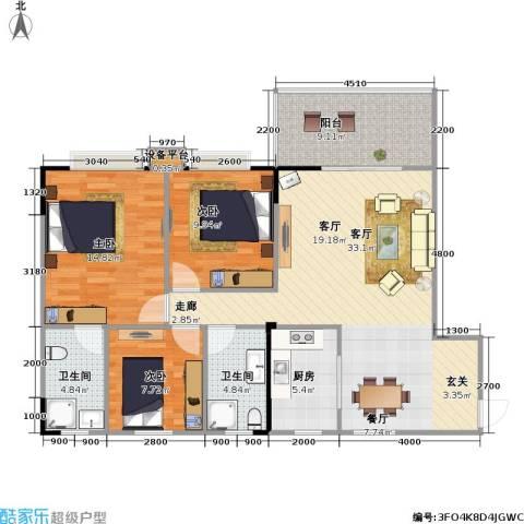 竹凌星晨3室1厅2卫1厨121.00㎡户型图