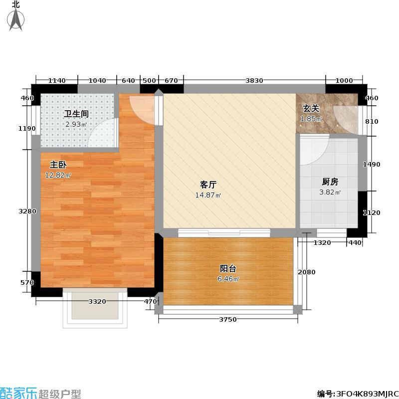 黄金海岸57.18㎡一房一厅户型
