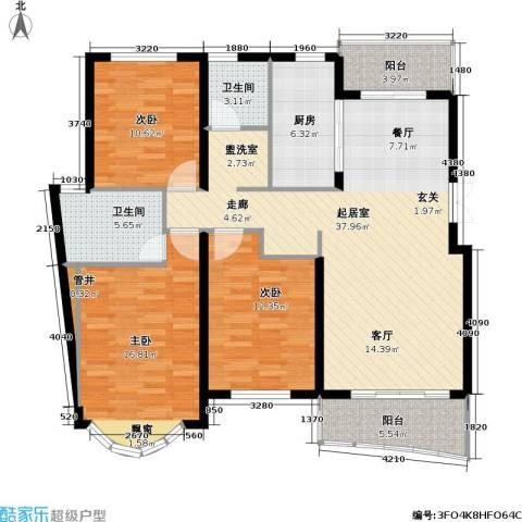 虹韵家园3室0厅2卫1厨116.00㎡户型图