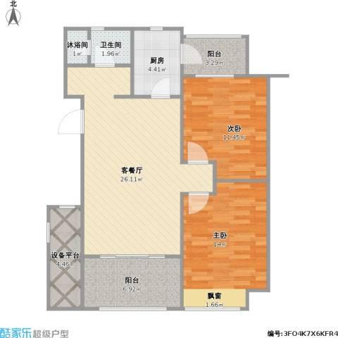 国信御湖公馆2室1厅1卫1厨100.00㎡户型图