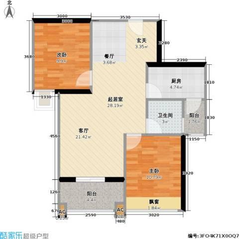 新都广场2室0厅1卫1厨77.00㎡户型图