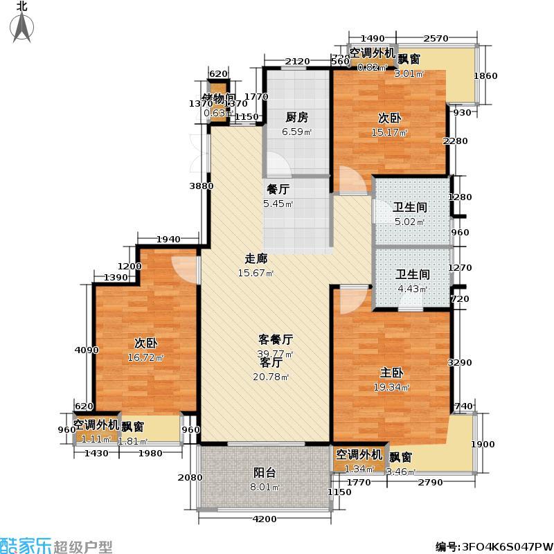 恒润郁洲府128.00㎡三室两厅两卫,约128㎡户型3室2厅2卫