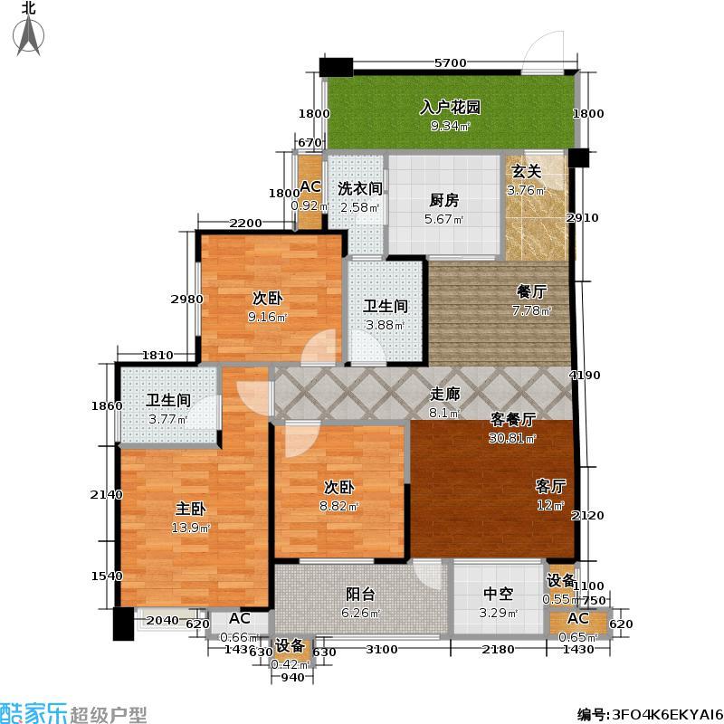 保利中央峰景95.52㎡高层 G3户型 27号楼3-19奇数层 1室2厅2卫(实得121平米)户型1室2厅2卫