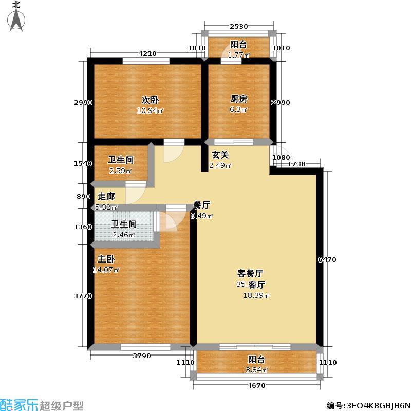 皓月园90.03㎡2室1厅1卫1厨户型