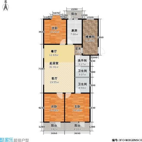 新华联锦园3室0厅2卫1厨150.00㎡户型图