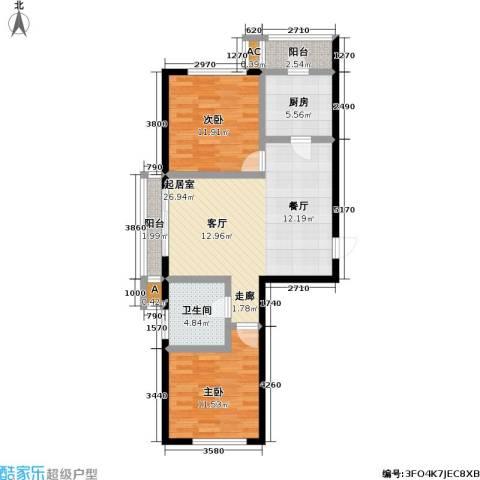 欣豪凤凰城2室0厅1卫1厨77.00㎡户型图