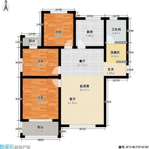 书香水韵3室0厅1卫1厨108.00㎡户型图