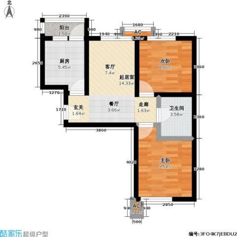 欣豪凤凰城2室0厅1卫1厨71.00㎡户型图