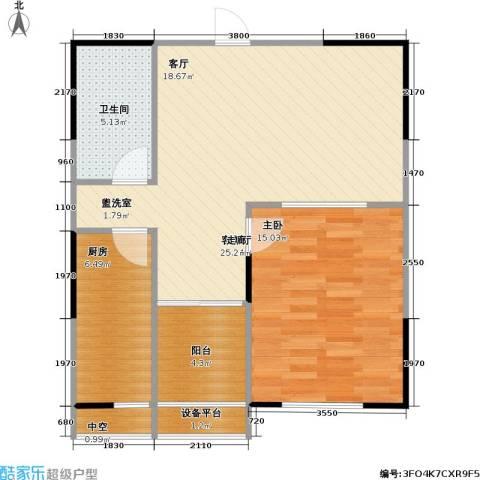 UP青年公社1室1厅1卫1厨63.00㎡户型图